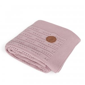 Knitted blanket in gift box (90x90) Herringbone pink