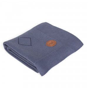 Knitted blanket in gift box in gift box (90x90) Diamonds navy blue