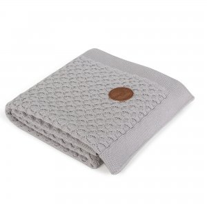 Knitted blanket in gift box (90x90) Gray waves