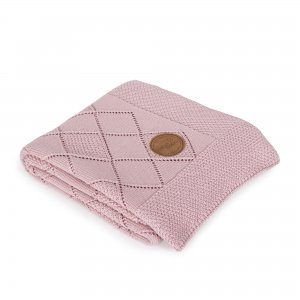Knitted blanket in gift box (90x90) Rice stitch pink